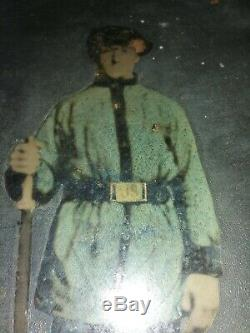 RARE CIVIL WAR SOLDIER FULL PLATE TINTYPE 6 1/2 X 8 1/2 INCHES hand colored