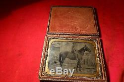 RARE CIVIL WAR TINTYPE Photograph OF CONFEDERATE / UNION SOLDIER ON HORSE