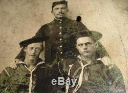 RARE CIVIL WAR UNION INFANTRY SOLDIER & SAILORS WOOLEN CAP 1/4th CASE TINTYPE