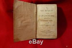 RARE Civil War 1863 New Testament BIBLE FRONT SOLDIER'S FILLED OUT ID LABEL