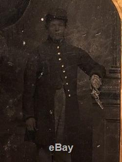 RARE Civil War Tintype Confederate Soldier, ARMED holding a PISTOL / GUN, C. S. A