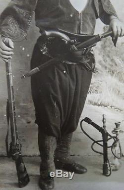 RARE US Civil War Photograph ZOUAVE soldier / rifle gun sword & HOOKA water pipe