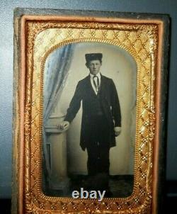 Rare, 1/8th Size tintype of Alfred Kiefer Civil War Soldier in half case