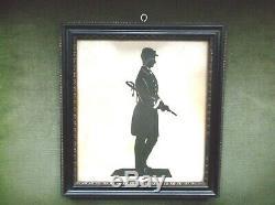 Rare Antique 19th C Hand Cut Paper Silhouette Of A Us CIVIL War Soldier C1865