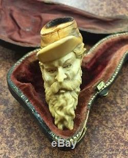 Rare Antique Civil War Era Meerschaum Pipe Soldier's Head And Cap