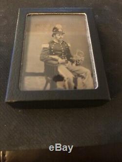 Rare CIVIL War Musician Union Soldier New York Infantry Rgt Cornet Shako Tintype