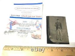 Rare Tin Type Photo of Soldier WithRifle Civil War Military Era Full Uniform