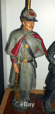 Rare Vintage 2 Dunning Industries 1971 Union Confederate CIVIL War Soldier Lamps
