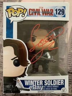 SEBASTIAN STAN Signed Funko Pop! Marvel Winter Soldier Civil War #129 COA