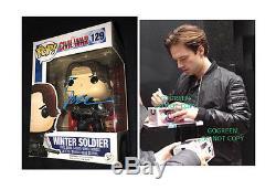 Sebastian Stan signed Winter Soldier funko vinyl pop figure 129 Civil War photo