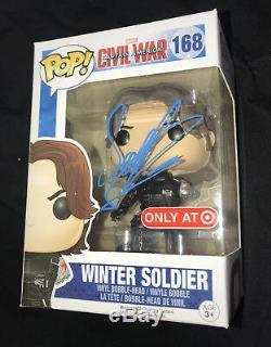 Sebastian Stan signed Winter Soldier funko vinyl pop figure 168 Civil War photo