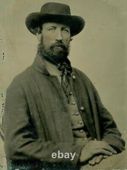 Sixth-plate Tintype CIVIL War Soldier. Close-up View