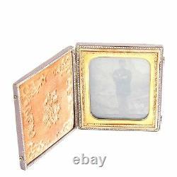Soldier tintype photo post Civil War cased in uniform antique c 1880s 1/6 plate