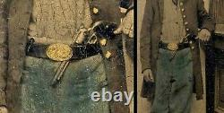 TINTYPE Handcolored CIVIL WAR Soldier with GUN/ WEAPON in Belt with OPEN FROCK COAT