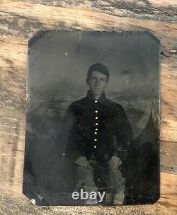 Teenage Civil War Soldier Camp Scene 1860s 1/6 Tintype Photo