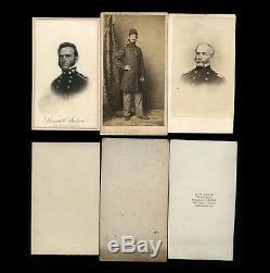 Three Civil War CDV Photos General / Navy Admiral / Soldier Addis Washington