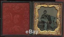 Tinted 1/6 Plate Tintype CIVIL WAR Soldier Holding Revolver Martinsburg VA 1863