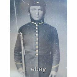 Tintype Plate Photograph CIVIL War Armed Soldier With Rifle Very Rare Amazing