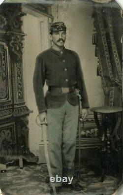 Tintype of a CIVIL WAR Cavalry Soldier Tinted