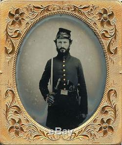 Triple Armed Union Civil War Soldier Ambrotype