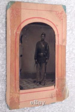US United States USA Soldier CIVIL WAR TINTYPE PHOTO Full Uniform Name On Back