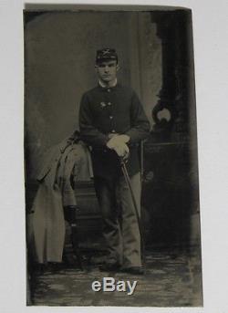 Union CIVIL War Soldier Sword Frock Coat Tintype Photograph 1/6 Plate