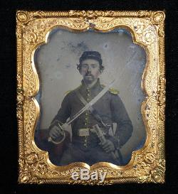 Union Civil War Soldier with Large Sword Armed In Uniform Tintype Sixth-plate