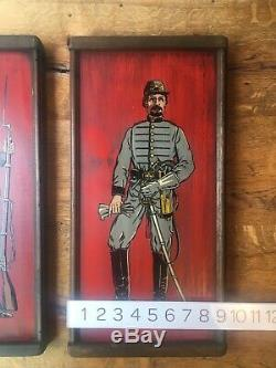 Union Confederate Soldiers painting on wood civil war Americana Vintage 1950s