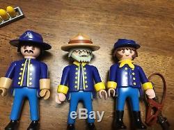 VTG Playmobil Fort Glory 3806 3812 Civil War Union Soldiers Horses Cavalry Box