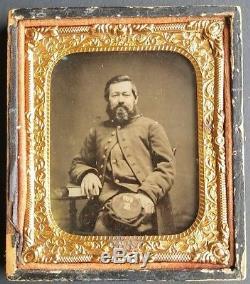 Victorian Civil War Era 1/6th Plate Ambrotype Bearded Soldier Unusual Kepi Co. E