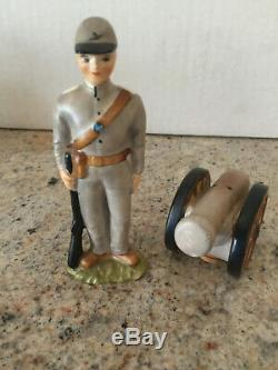 Vintage CIVIL WAR CANNON AND SOLDIER Salt Pepper Shaker Set VERY RARE