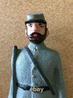 Vintage Cast Iron Confederate Civil War Soldier Door Stop All Original