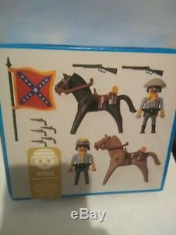 Vintage New In Sealed Box RARE Playmobil Confederate Soldiers Civil War Set 3783