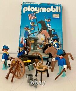 Vintage PLAYMOBIL #3485 US CAVALRY/ SOLDIERS withcannon made in West Germany 1974