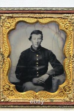 Vintage Tintype Photo Civil War Soldier in Uniform Hinged Flocked Frame 19889