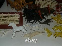Vntg Marx Fort Apache Play set Cowboys Indians Civil War soldiers horses-120 pcs