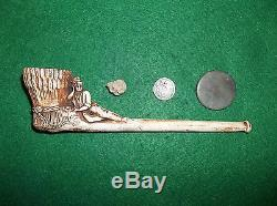 WOUNDED CIVIL WAR SOLDIER EFFIGY PIPE w CONFEDERATE RELICS 1853 SILVER COIN CSA